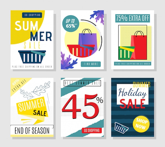 Cartoon summer sales cards et flyers à prix réduits pour les fêtes Vecteur Premium