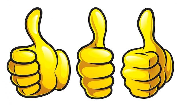 Cartoon thumb up set Vecteur Premium