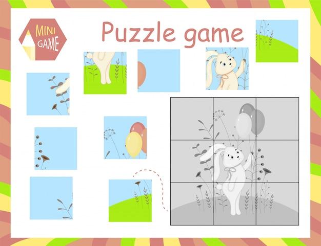 Cartoon vector illustration of education jigsaw puzzle game pour les enfants d'âge préscolaire Vecteur Premium