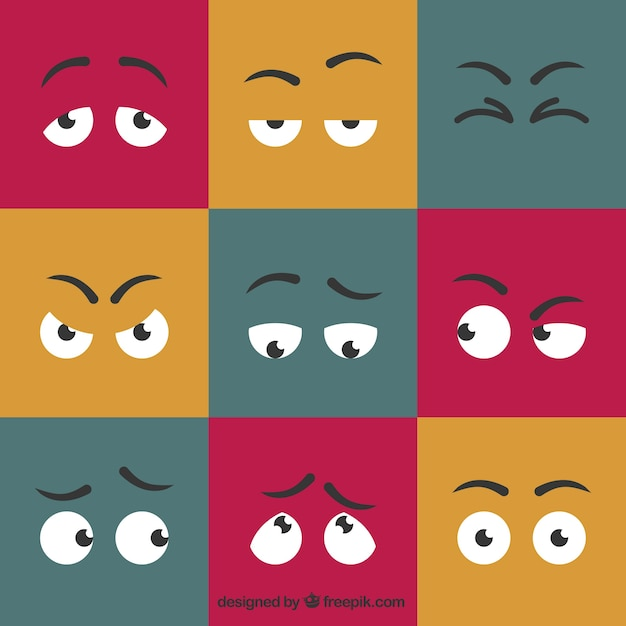 Cartoon yeux expressifs fixés Vecteur gratuit