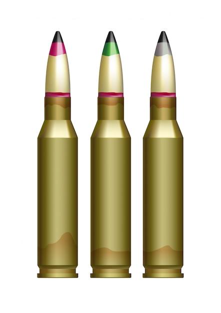 Cartouche de gros calibre pour pistolets à balles marquées de différentes couleurs. Vecteur Premium