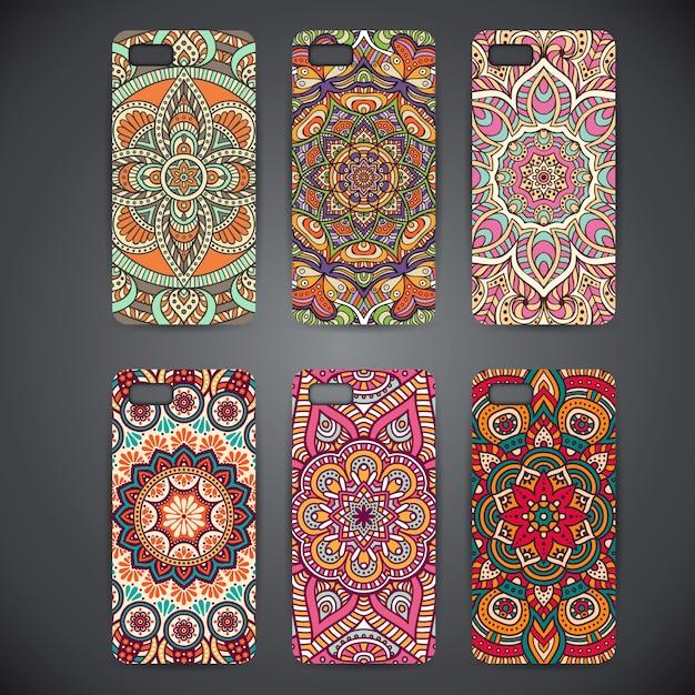 Cas de téléphone avec mandalasv Vecteur gratuit