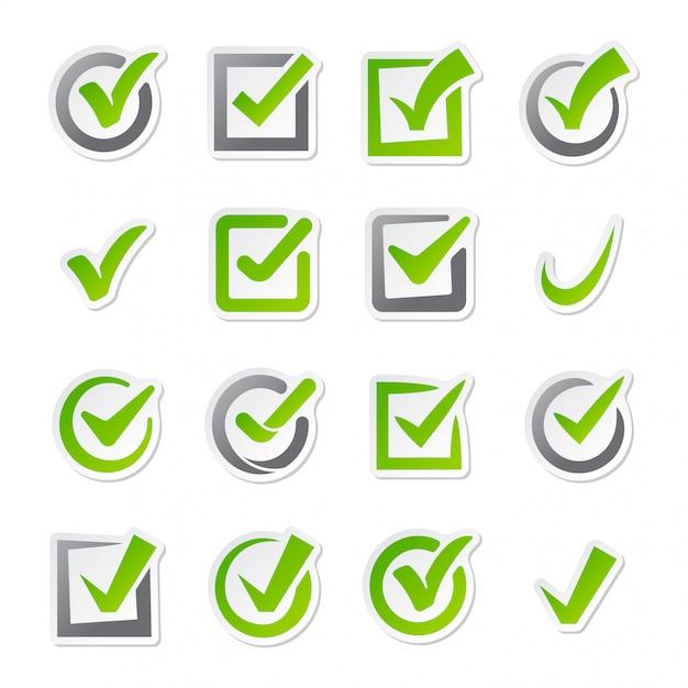 Case à cocher icônes vectorielles définies. Vecteur Premium