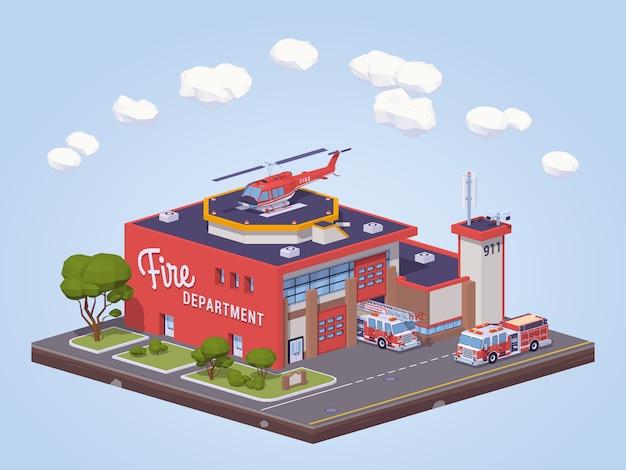Caserne de pompiers low poly Vecteur Premium