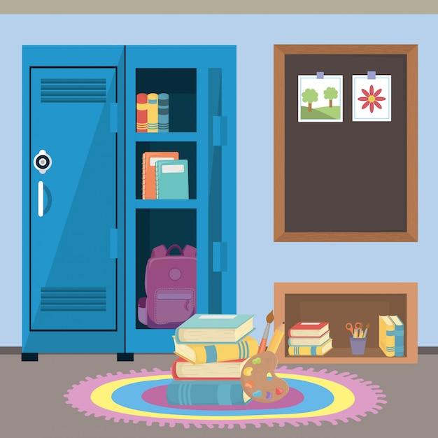 Casier scolaire et fournitures Vecteur gratuit
