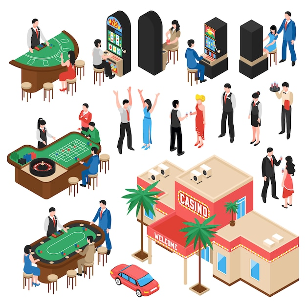 Casino isometric s set Vecteur gratuit