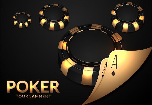 Casino à jouer aux cartes et jetons Vecteur Premium