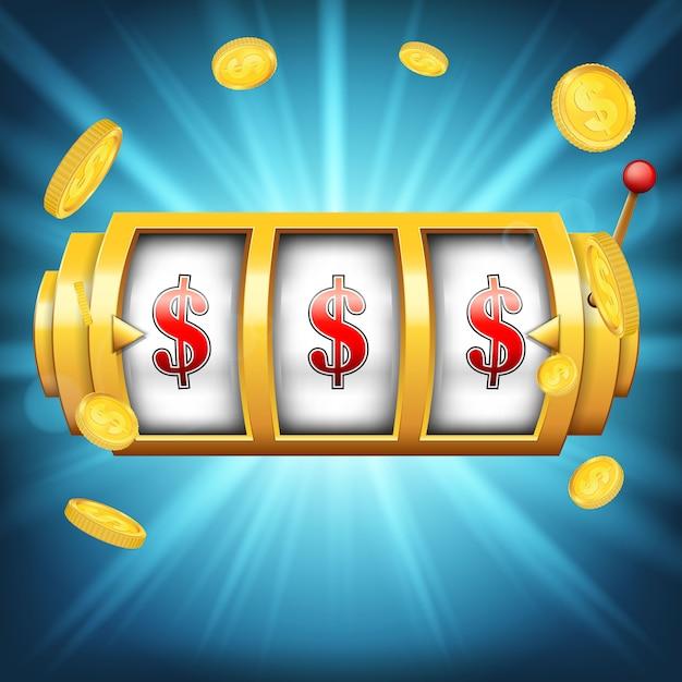 Casino machine à sous à gros gain Vecteur Premium