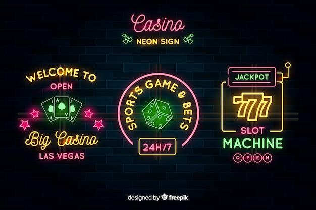 Casino néon signe collectio Vecteur gratuit