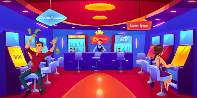 Casino avec des personnes jouant aux machines à sous, gagnez de l'argent. Vecteur gratuit