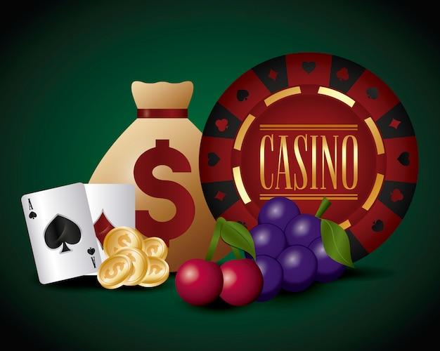 Casino et sac d'argent Vecteur gratuit