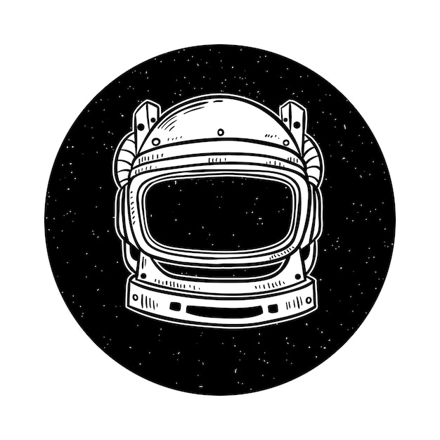 Casque d'astronaute sur l'espace avec style dessiné à la main ou doodle Vecteur Premium