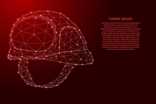 Casque De Chantier, Concept De Sécurité à Partir De Lignes Rouges Polygonales Futuristes Et D'étoiles Brillantes Vecteur Premium