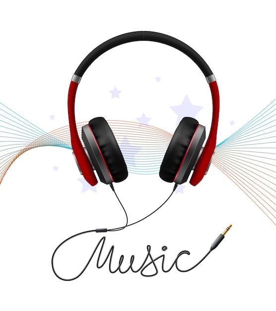 Casque écouteur Composition Réaliste Vecteur gratuit