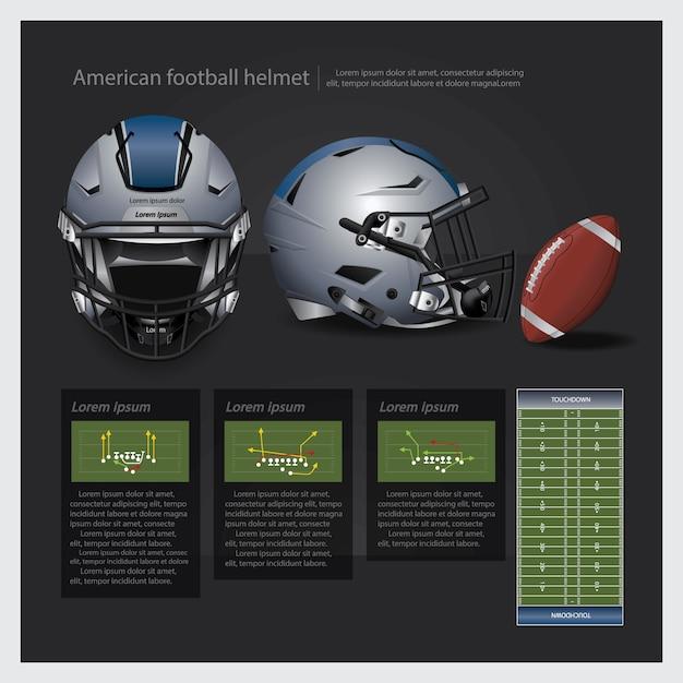 Casque de football américain avec illustration vectorielle de plan d'équipe Vecteur Premium