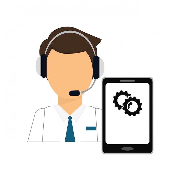 Casque homme avec l'icône des services smartphone Vecteur Premium