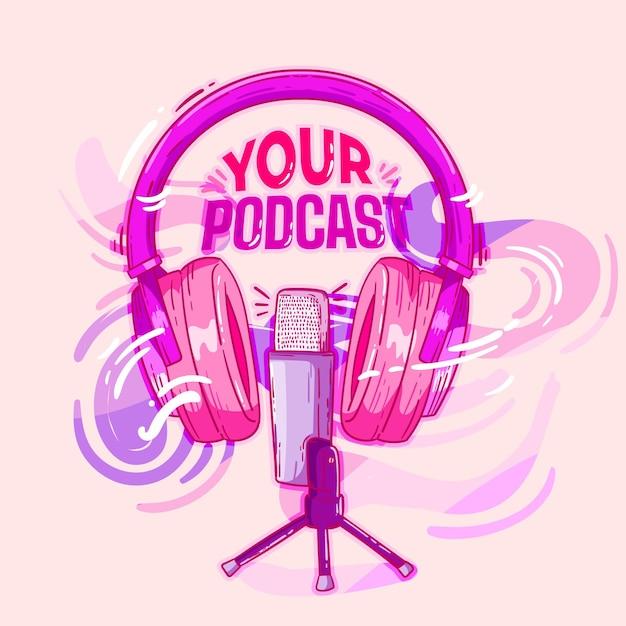 Casque Et Microphone Illustrés Pour Une Promo Podcast Vecteur Premium