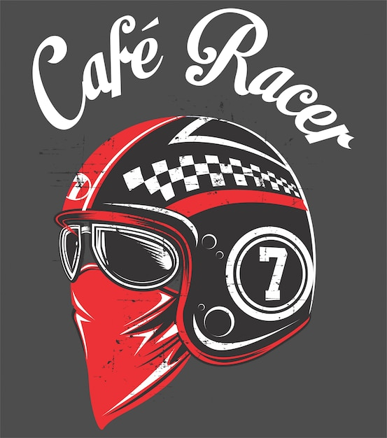 Casque de motard, avec dessin à la main tex cafe racer.vector Vecteur Premium