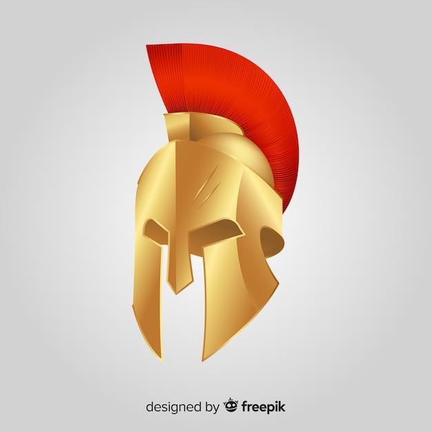 Casque Spartan Classique Avec Design Plat Vecteur gratuit