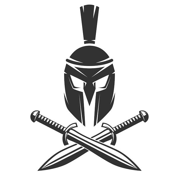 Casque spartiate avec des épées croisées Vecteur Premium
