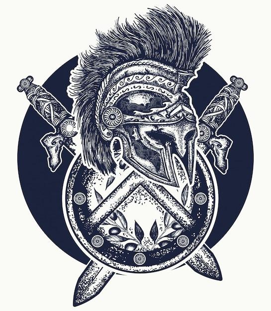 Casque spartiate, tatouage d'épées croisées Vecteur Premium