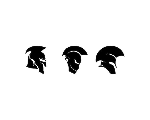 Casque et tête de logo spartan Vecteur Premium