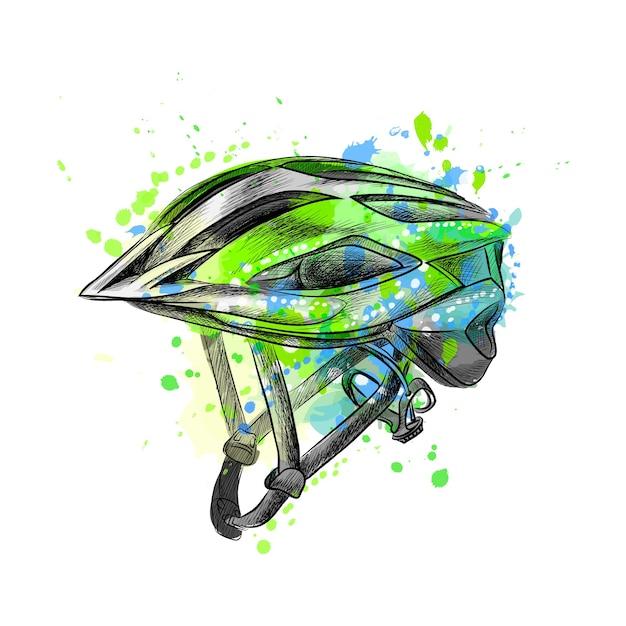 Casque De Vélo D'une éclaboussure D'aquarelle, Croquis Dessiné à La Main. Illustration De Peintures Vecteur Premium