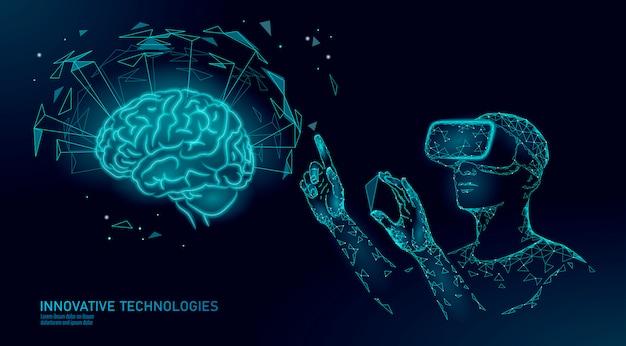 Casque Vr De Cerveau Humain Actif, Capacités Mentales De Niveau Supérieur. Homme Portant Des Lunettes De Réalité Augmentée Géométrique Bleu Brillant. Vecteur Premium