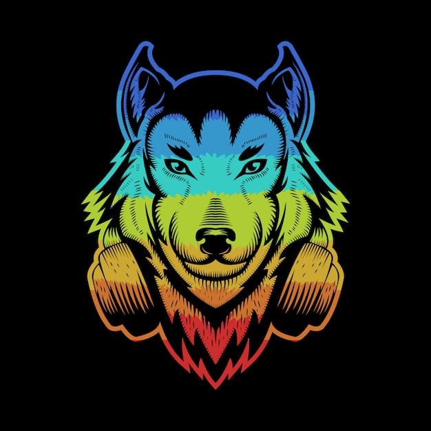 Casque Wolf Coloré Vecteur Premium