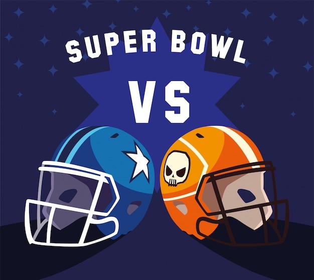 Casques De Football Américain Avec étiquette Super Bowl Vecteur Premium