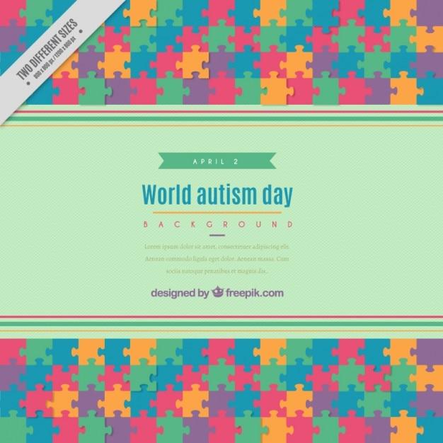 Casse-tête coloré jour autisme fond Vecteur gratuit