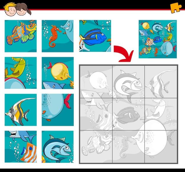 Casse-tête avec des personnages de la vie de la mer Vecteur Premium