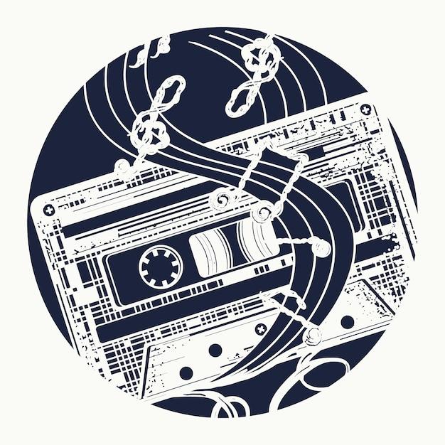 Cassette audio et notes de musique Vecteur Premium