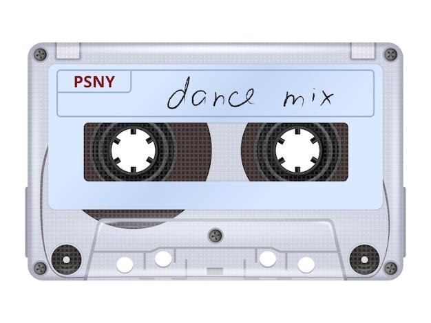 Cassette audio. rétro mixtape musique dj équipement années 70 années 80 technologie image réaliste réaliste isolé Vecteur Premium