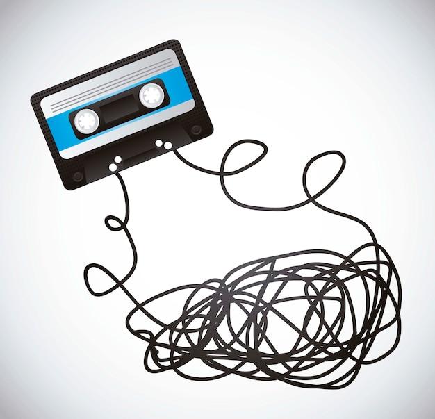 Cassette noire avec du ruban adhésif sur illustration vectorielle fond gris Vecteur Premium