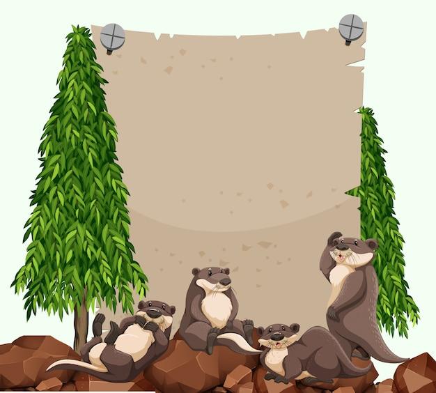 Castors sur le rocher et papier vierge Vecteur gratuit