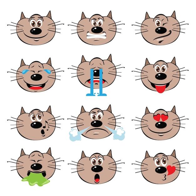 Cat emojis set isolé sur fond blanc Vecteur gratuit
