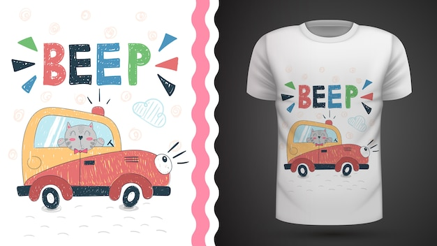 Cat in car - idée d'imprimer un t-shirt Vecteur Premium