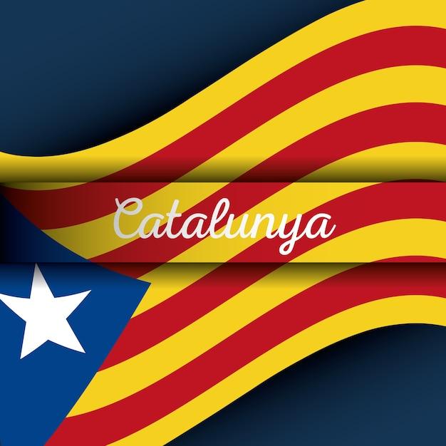 Catalogne le drapeau national l'europe l'espagne Vecteur Premium