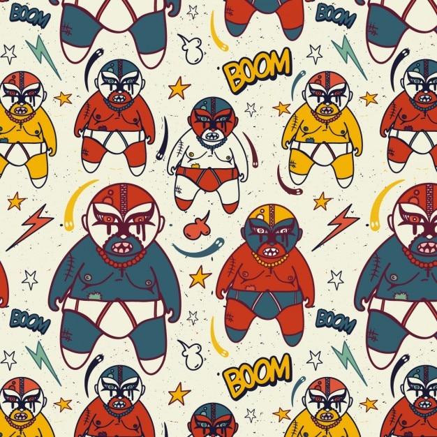 Catch mexicain pattern avec lutteurs Vecteur gratuit
