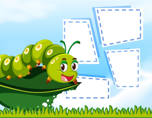 Caterpillar sur le modèle de note Vecteur gratuit