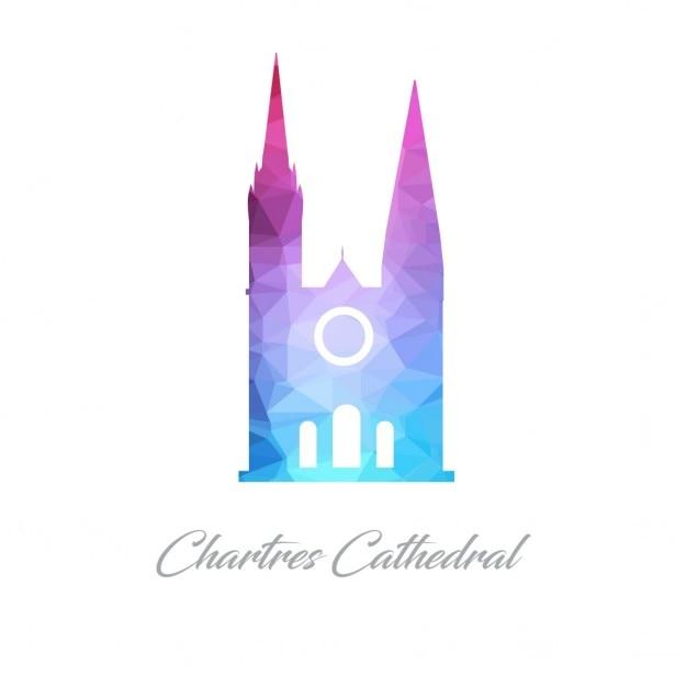 Cathédrale de chartres polygon Vecteur gratuit