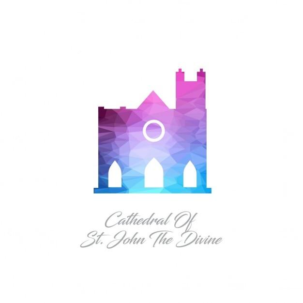 Cathédrale saint-jean le monument divin polygon logo Vecteur gratuit