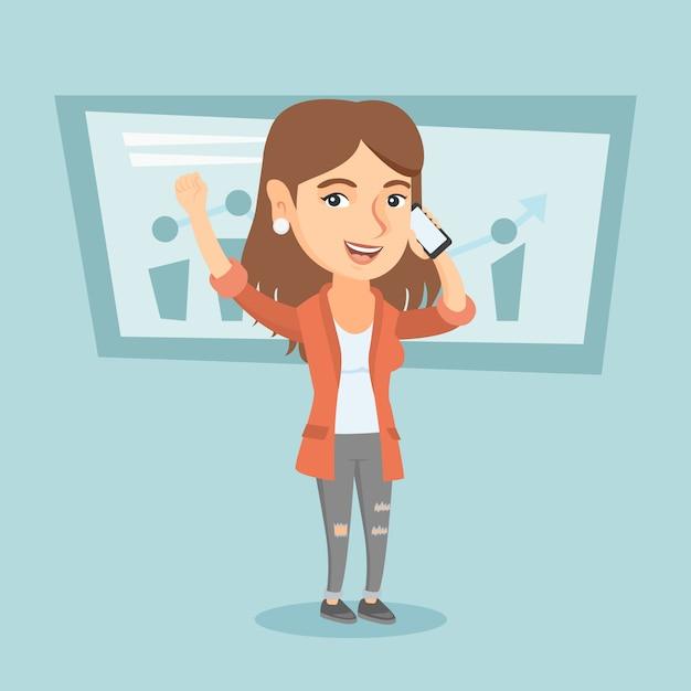 Caucasien, femme affaires, parler téléphone portable Vecteur Premium