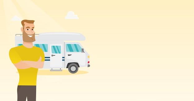 Caucasien, homme, debout, devant, camping-car Vecteur Premium