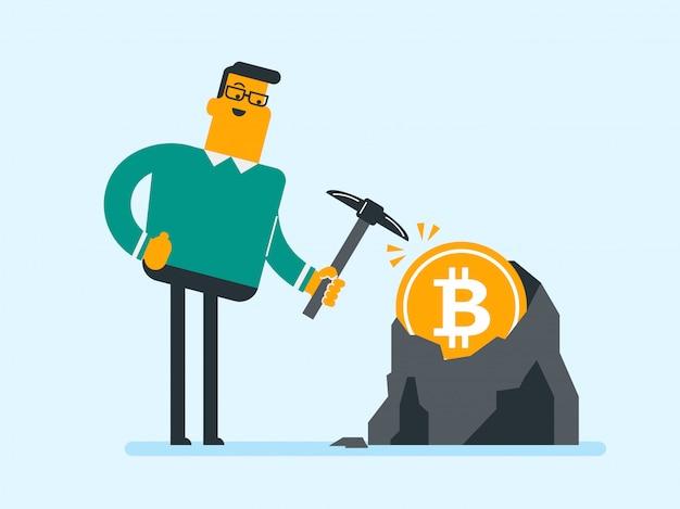 Caucasien, pioche, travaillant, bitcoin, mine Vecteur Premium