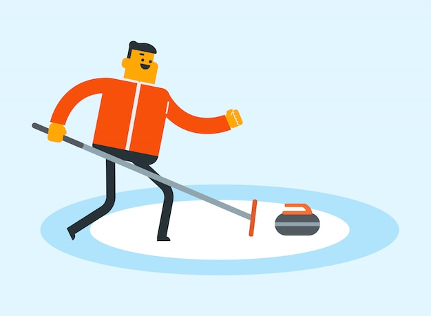 Caucasien sportif jouant au curling sur la patinoire. Vecteur Premium