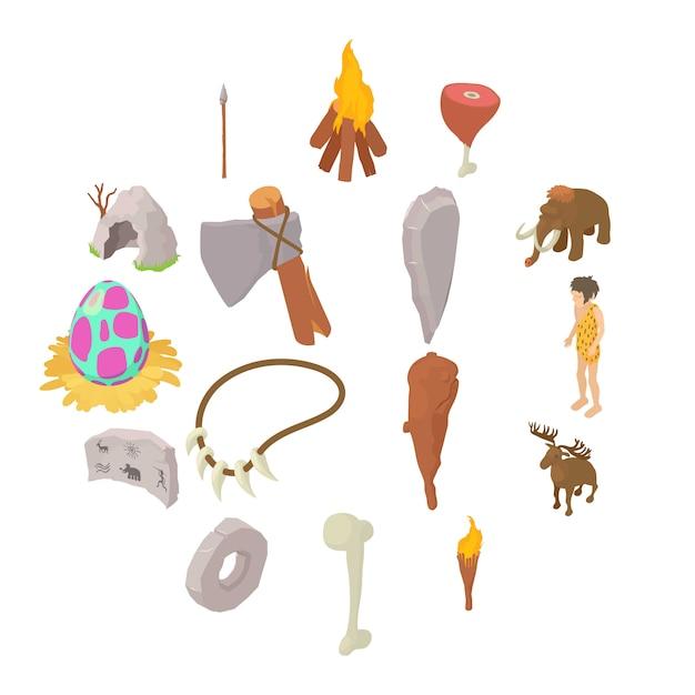 Cavemen human icons set, style isométrique Vecteur Premium