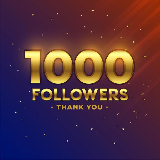Célébration Des 1000 Abonnés Merci Bannière Vecteur gratuit