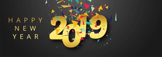 Célébration 2019 coloré conception de bannière de bonne année Vecteur gratuit